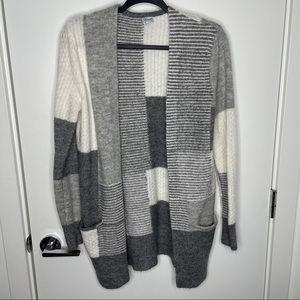 Kismet grey & white colour block cardigan